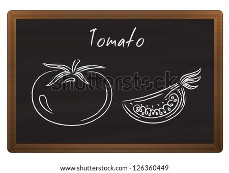 Chalkboard menu with tomato doodles - stock photo