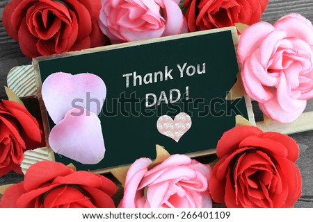 chalkboard sign showing thank you dad message  - stock photo