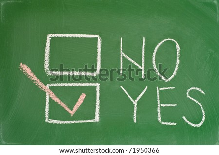chalkboard where you can vote yes or no - stock photo