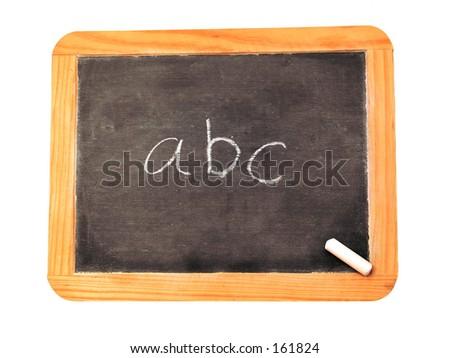 "Chalkboard with ""abc"" written on it. - stock photo"