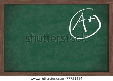 Chalkboard with an A+ in chalk with copy space for your message, Good Gades - stock photo