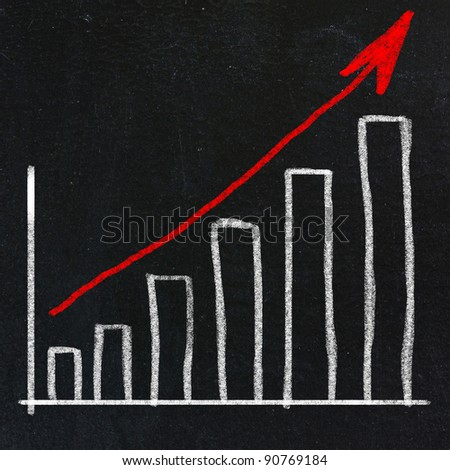 chalkboard with finance business graph - stock photo