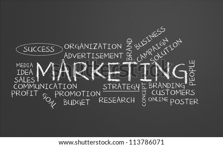 Chalkboard with marketing concept - stock photo