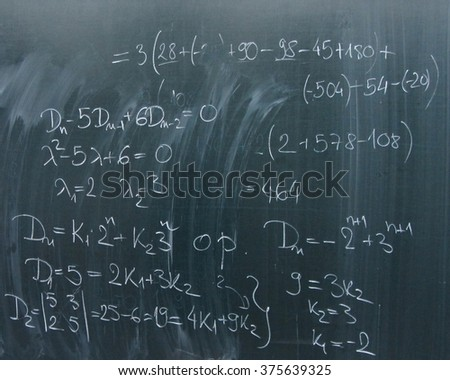 Chalkboard with Mathematical Formulas