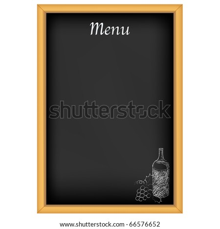 Chalkboard With Menu And Drawing Chalk, Isolated On White Background - stock photo