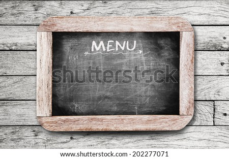 """Chalkboard with """"MENU"""" handwriting including clipping path  - stock photo"""