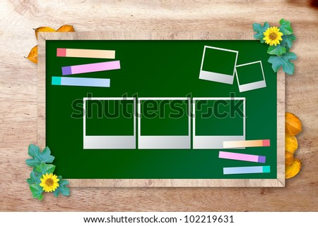 chalkboard with photo frame on wood background