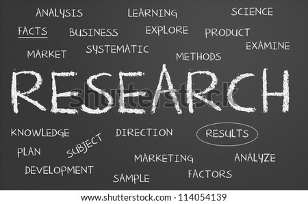 Chalkboard with research concept - stock photo