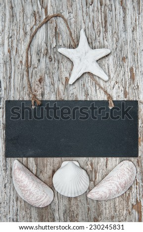 Chalkboard with seashells on the old wood background - stock photo