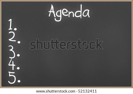 Chalkboard with wooden frame and the text Agenda - stock photo