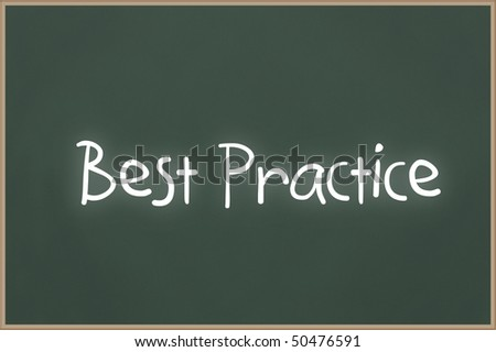 Chalkboard with wooden frame and the text best practice - stock photo