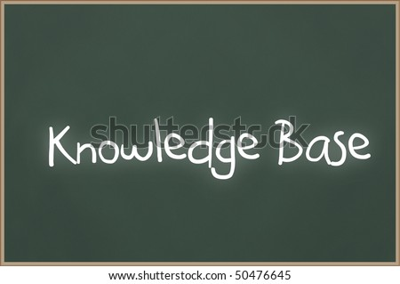 Chalkboard with wooden frame and the text Knowledge Base - stock photo