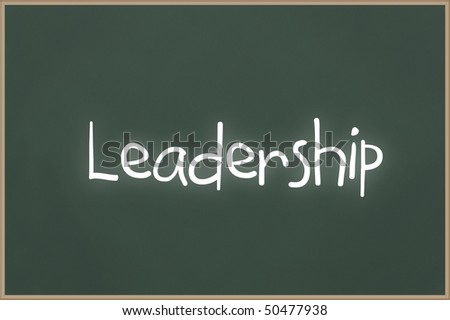 Chalkboard with wooden frame and the text Leadership
