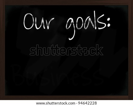 Chalkboard with wooden frame and the text our goals - stock photo