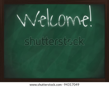 Chalkboard with wooden frame and the text Welcome! - stock photo
