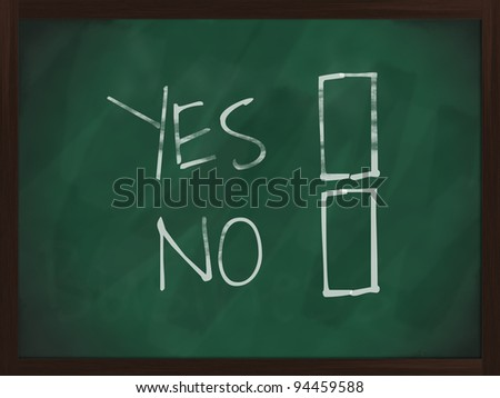 Chalkboard with wooden frame and the text Yes No - stock photo