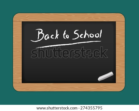 Chalkboard with wooden frame. Drawing. Back to school - stock photo