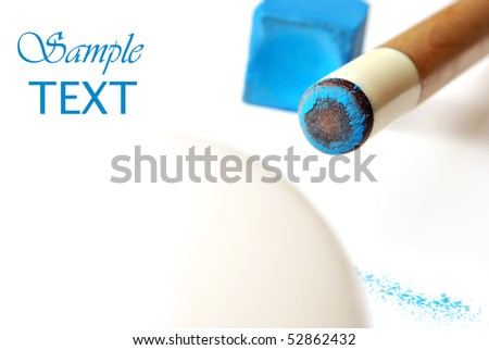 Chalked cue stick with ball on white background.  Macro with extremely shallow dof.  Copy space included. - stock photo