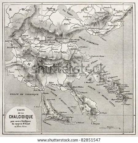 Chalkidiki old map, Greece. Created by Vuillemin, published on Le Tour du Monde, Paris, 1860 - stock photo
