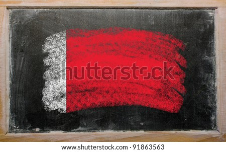 Chalky bahrain flag painted with color chalk on old blackboard - stock photo