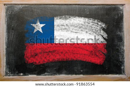 Chalky chile flag painted with color chalk on old blackboard - stock photo
