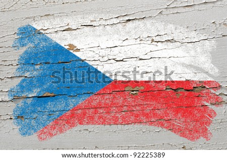 Chalky czech flag painted with color chalk on grunge wooden texture - stock photo