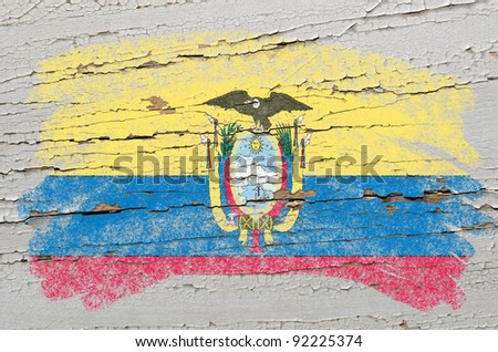 Chalky ecuadorian flag painted with color chalk on grunge wooden texture - stock photo