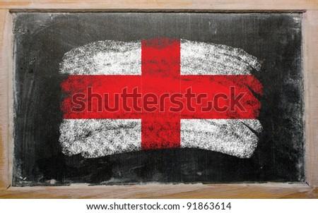 Chalky english flag painted with color chalk on old blackboard