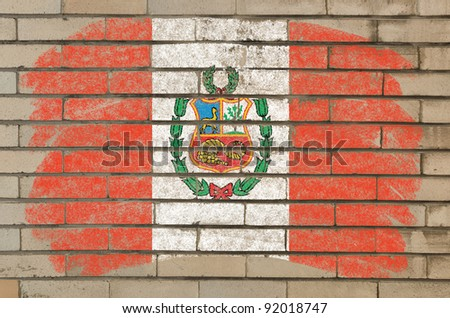 Chalky  flag painted with color chalk on grunge old brick wall - stock photo
