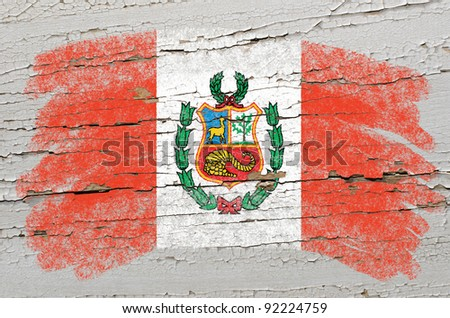 Chalky  flag painted with color chalk on grunge wooden texture - stock photo