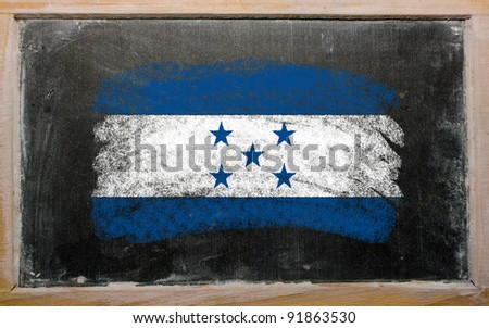 Chalky Honduras flag painted with color chalk on old blackboard - stock photo