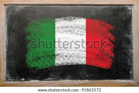 Chalky Italian flag painted with color chalk on old blackboard