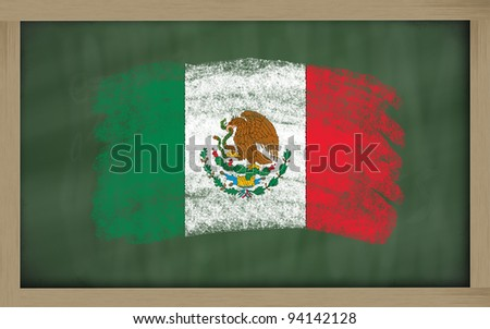 Chalky national flag of mexico painted with color chalk on blackboard illustration