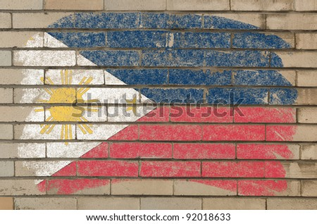 Chalky phillip flag painted with color chalk on grunge old brick wall - stock photo
