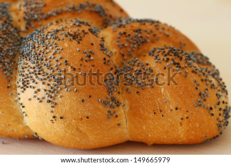 Challah bread with poppy seeds, close up  - stock photo
