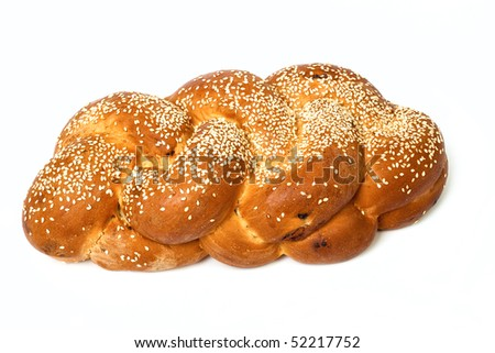 Challah isolated on white background - stock photo