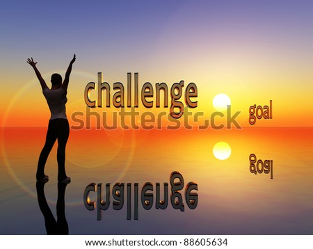 Challenge and goal. Young woman is visualizing her aim and strategy in life - stock photo