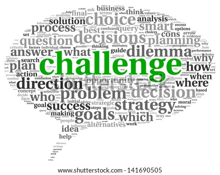 Challenge concept in word tag cloud of speaking bubble shape - stock photo