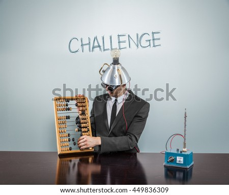Challenge concept with businessman - stock photo