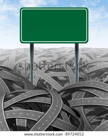 Challenges and obstacles with a green blank highway sign representing the concept of solutions and answers in a confusing maze of tangled roads showing the need for management and leadership strategy. - stock photo