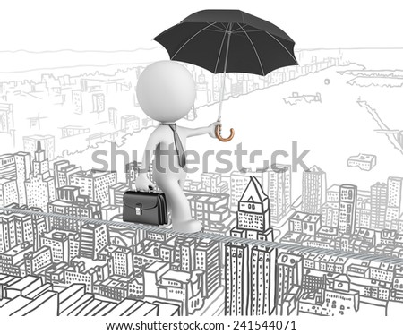 Challenges and Risks. The Dude walking on a wire over cityscape background. - stock photo