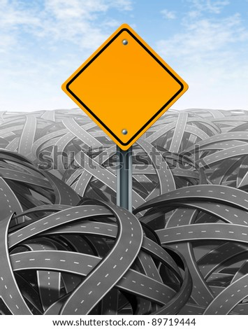 Challenges symbol with blank yellow road sign for Solutions and answers for success with clear vision and strategy finding the clear path through a maze of tangled roads and highways.