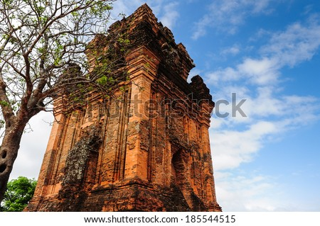 Cham tower on the top of Nhan Mountain, famous place of Tuy Hoa city, Phu Yen province, central Viet Nam