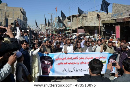 CHAMAN, PAKISTAN - OCT 14: Civil society members and people from every walk of life are holding a protest rally against abduction of Asfand Yar son  on October 14, 2016 in Chaman.