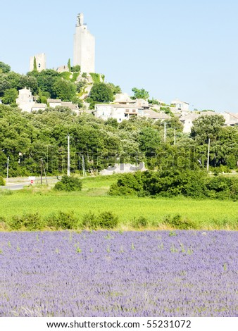 Chamaret with lavender field, Drome Department, Rhone-Alpes, France - stock photo