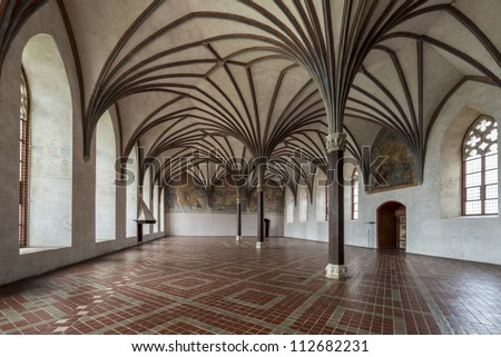 Chamber in greatest Gothic castle in Europe - Malbork. Teutonic castle. World Heritage List UNESCO. Gothic gallery in the Malbork castle, Poland - stock photo