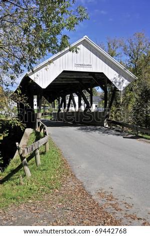 Chamberlin Covered Bridge, Lydon, VT Vertical - stock photo