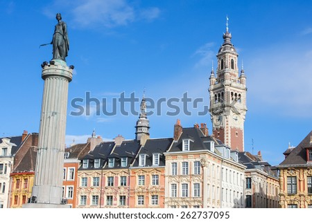 Chambre of Commerce and Statue and Column of Deesse (1845) in Lille, France. - stock photo