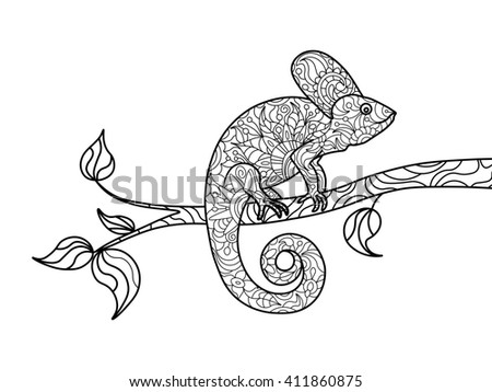 Chameleon Animal Coloring Book For Adults Raster Illustration Zentangle Style Black And White Lines