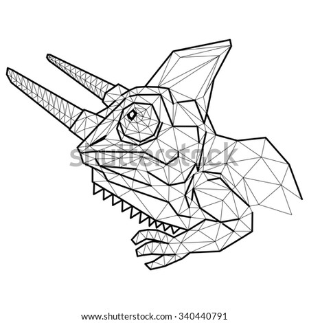 Chameleon head geometric (illustration of a many triangles) - stock photo